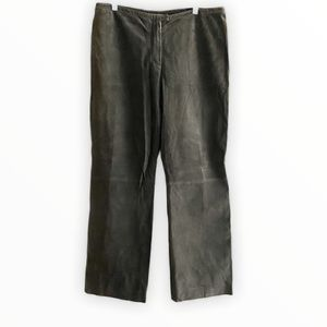 ST. JOHN 100% suede leather pants green size 16